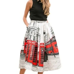 London City Printed Midi Flared Red White Skirt